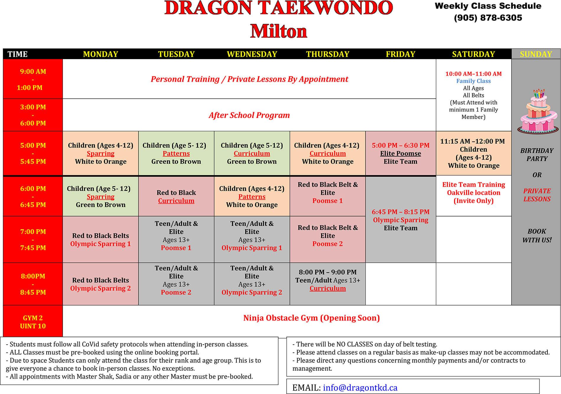 Dragon Taekwondo New Schedule