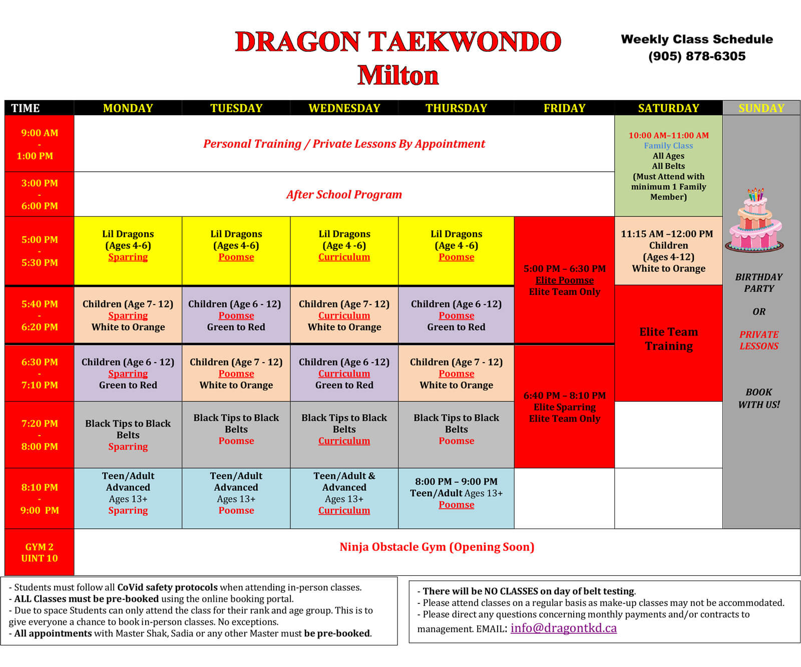 Dragon Taekwondo New Schedule